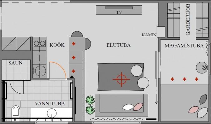 Hrushtshovka tüüpi korteri plaan peale muutmist. Korter 1. Aet Piel Disain. - 2