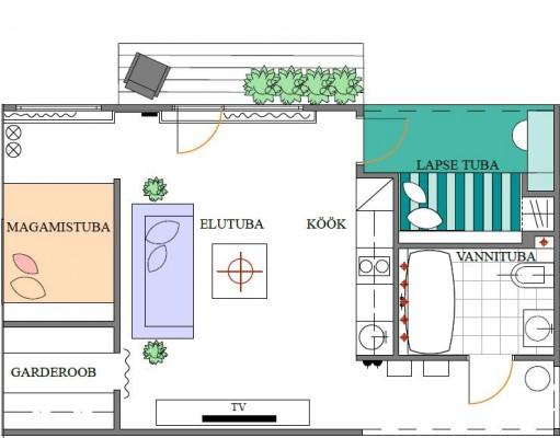 Hrushtshovka tüüpi korteri plaan peale muutmist. Korter 2. Aet Piel Disain. - 1 - 5