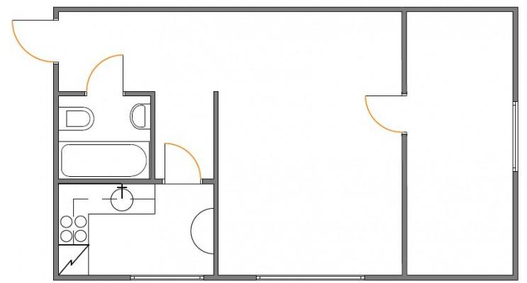 Hrushtshovka tüüpi korteri plaan enne muutmist. Korter 1. Aet Piel Disain. - 1