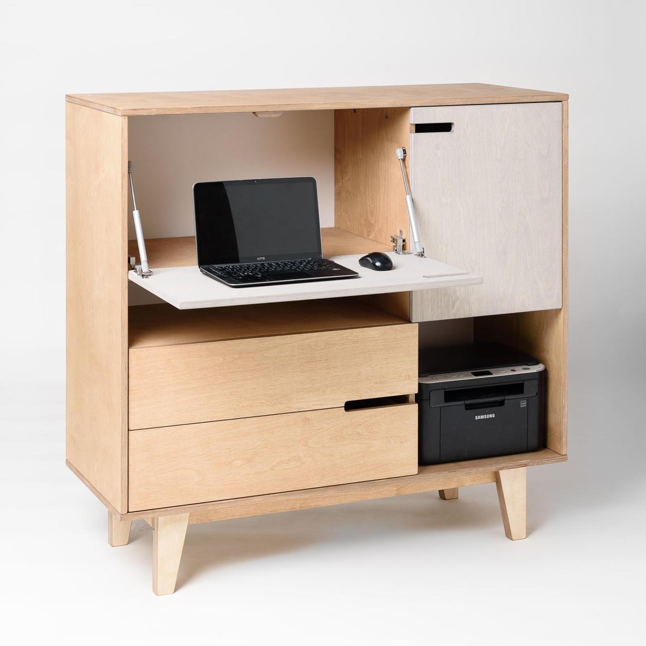 MIX kummut, kus on sees kohad nii printeri kui kaustade jaoks, samuti lauapind arvuti jaoks. Sulgedes kummuti ukse, jätad töömured seljataha ja naudid toredat kummutit.