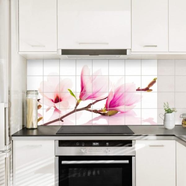 Veekidel keelbis köögi tasapinna plaaditud seina peal.