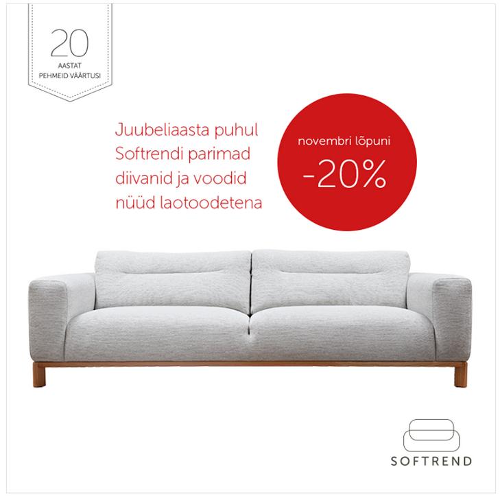 Softrendi parimad diivanid ja voodid -20% kuni 30.11
