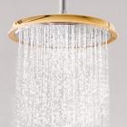 Elegantsi vannituppa kuldsete Hansgrohe segistide ja duššidega