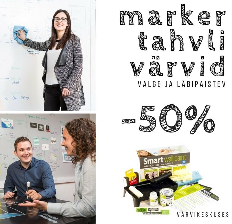 Värvikeskuses MARKERTAHVLIVÄRVID -50% ja muud nutikad seinaviimistlused -20% kuni 31.03