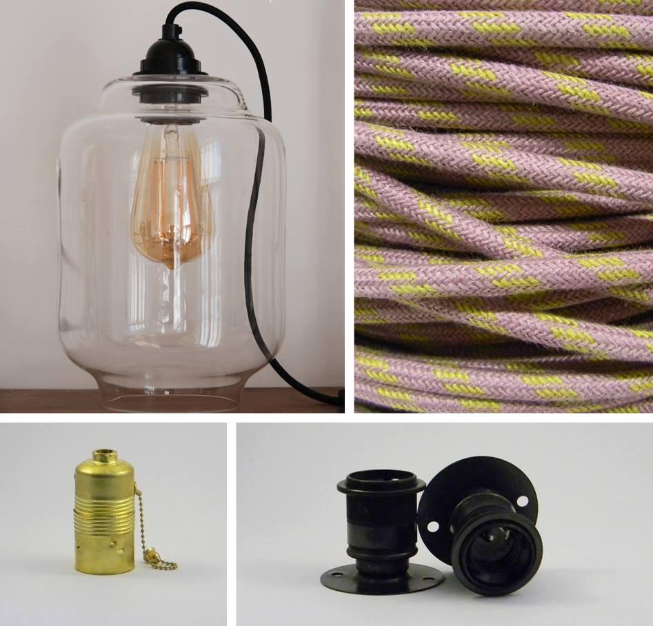 Uued põnevad tooted: kett-lülitiga pirnipesa, tallaga lamp, käsitööna valmiv klaasit kuppel Kaju ja linakaabel Sirel.