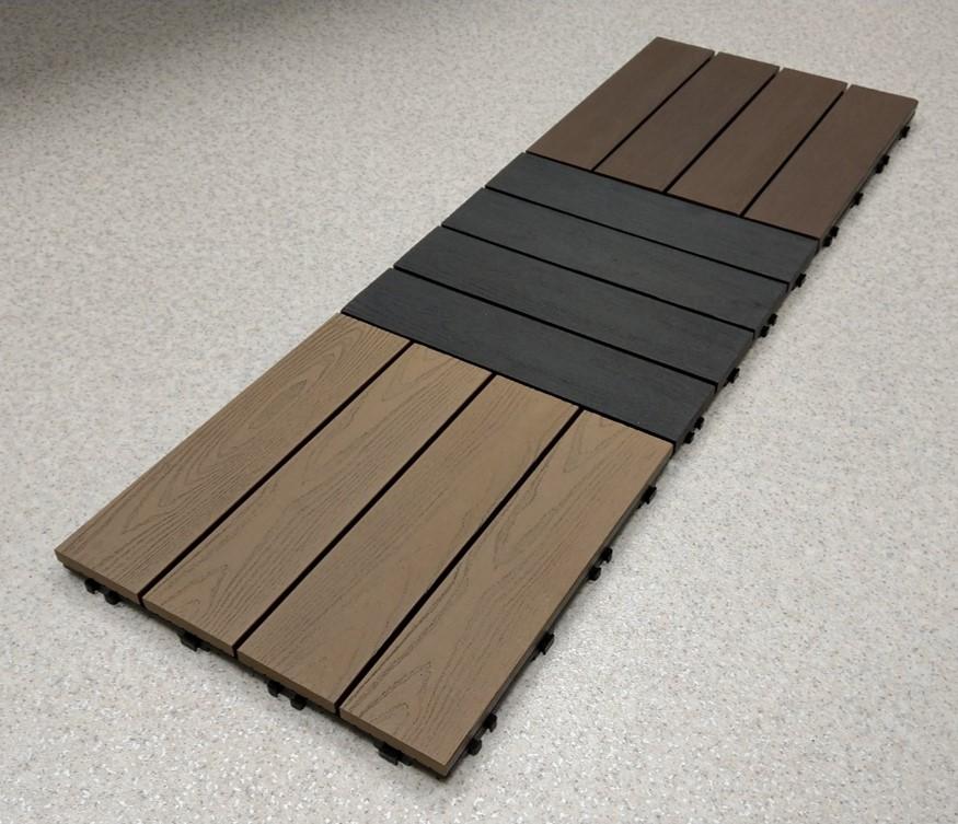 Onewood terrassiplaadid on ilmastikukindlad, vastupidavate plastkinnitustega ja saadaval erinevates värvitoonides – hall, pruun ning tumepruun.