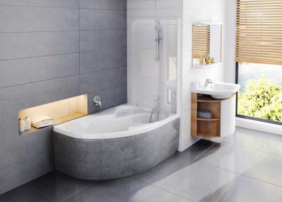 Pilt 2 - Vanni Roisa 2 originaalne avar kuju annab võimaluse väikestes vannitubades mugavalt nii vannis mõnuleda kui ka duši all käia.