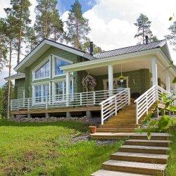 Kaasaegne palkmaja - suured aknad, katusekalded, eriline planeering