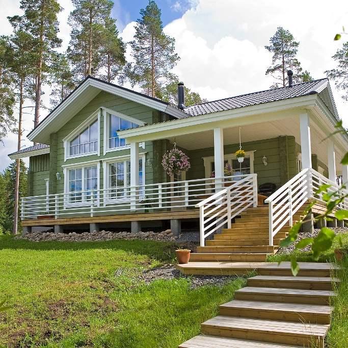 Kaasaegne palkmaja - suured aknad, erinevad katusekalded, võimalusterohke planeering