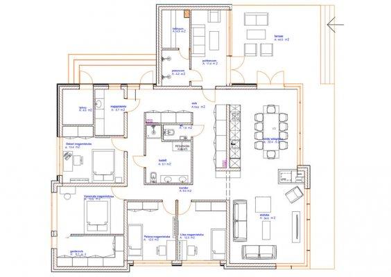 Pilt 2 - Arhitekt Tanel Tuhali poolt projekteeritud ühekorruseline eramu on 5-toaline, kõrgete lagede ja suurte akendega. Majas on avatud köök-elutuba, 4 magamistuba, saun, pesuruumid ja panipaigad.