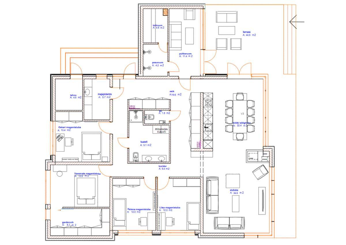 Arhitekt Tanel Tuhali poolt projekteeritud ühekorruseline eramu on 5-toaline, kõrgete lagede ja suurte akendega. Majas on avatud köök-elutuba, 4 magamistuba, saun, pesuruumid ja panipaigad.