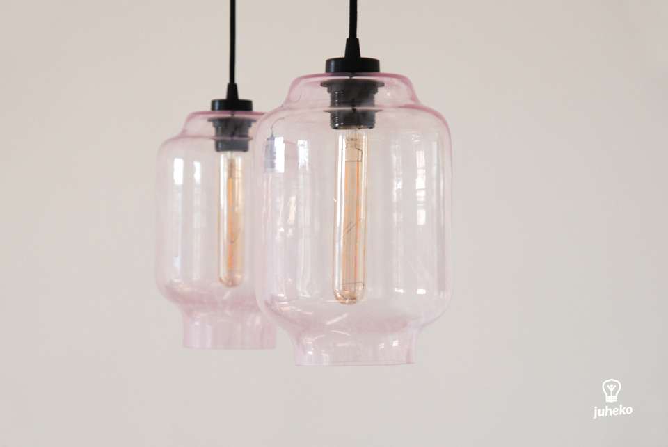 HANDMADE GLASS PENDANT LIGHT KAJU, PINK