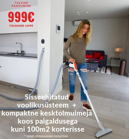 Kompaktne kesktolmuimeja süsteem kuni 100m2 korterisse 999 EUR!