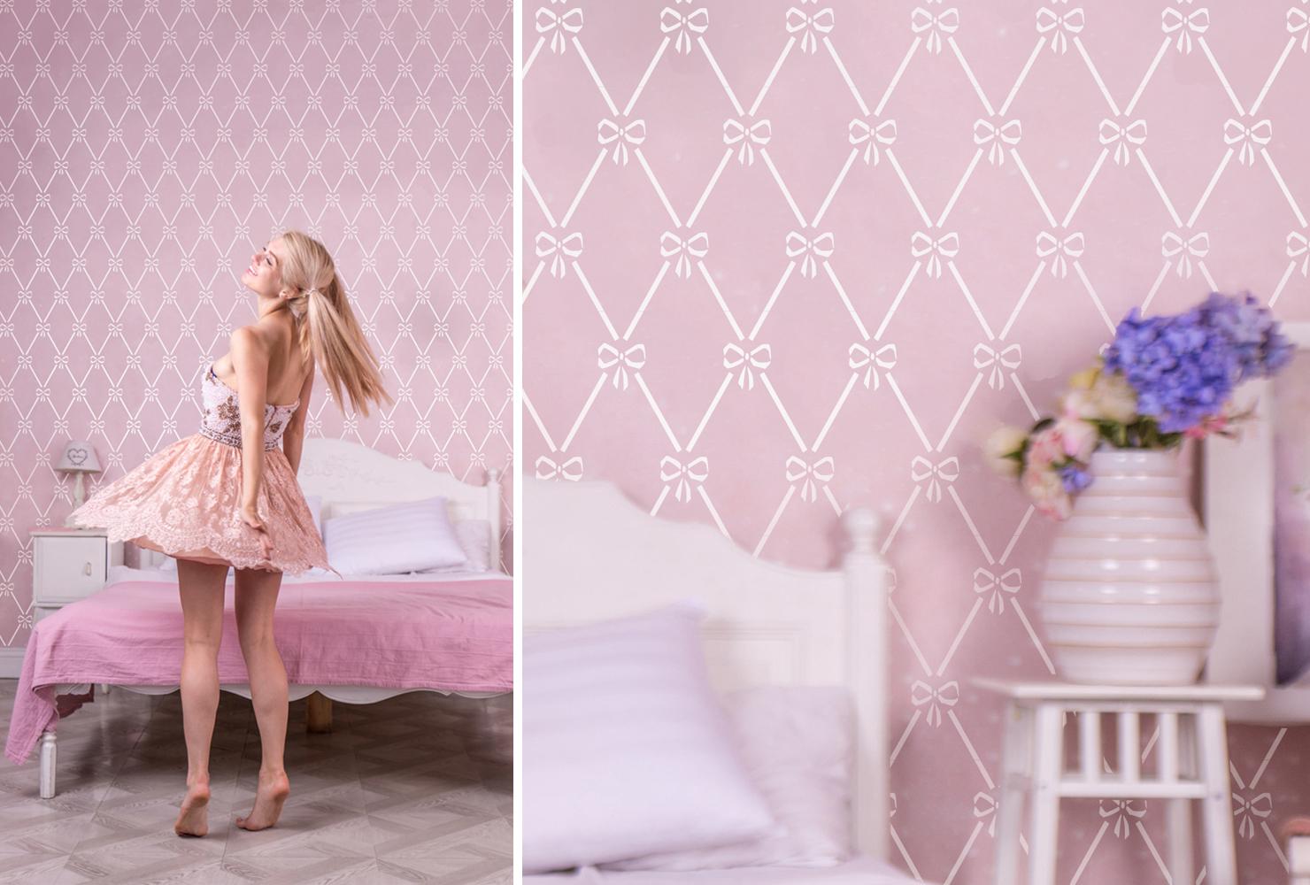 Lastetuppa sobivad minimalistlikud seinamustrid. Tüdrukutele sobilik Arlekiini muster müügil ka Stencilit.co e-poes.