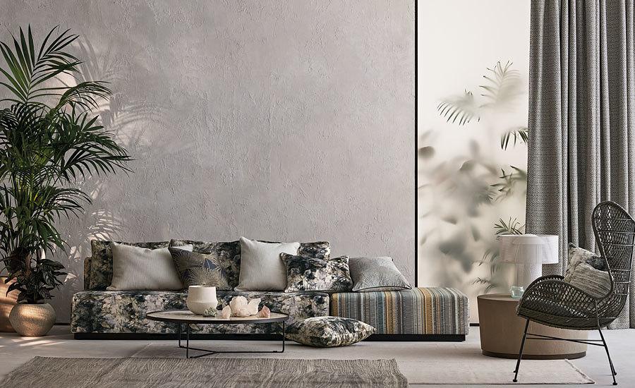 Mustritest on esil troopikast inspireerititud disain- sõnajalad ja palmimotiivid.
