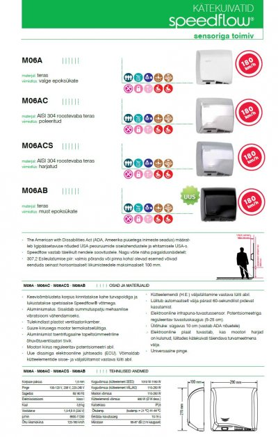 Pilt 6 - Reguleeritava kiiruse ja sensoriga kätekuivatid Mediclinics SPEEDFLOW