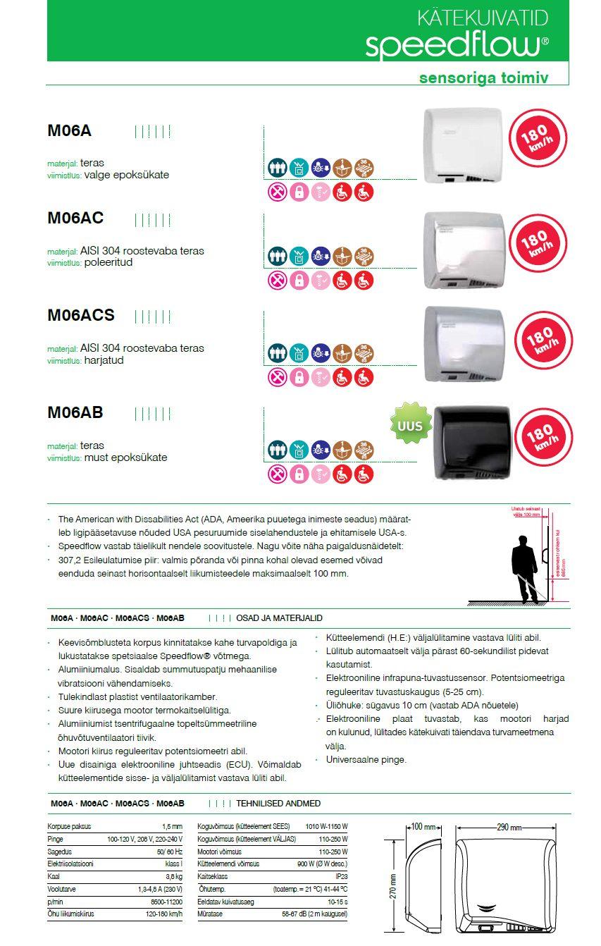 Reguleeritava kiiruse ja sensoriga kätekuivatid Mediclinics SPEEDFLOW