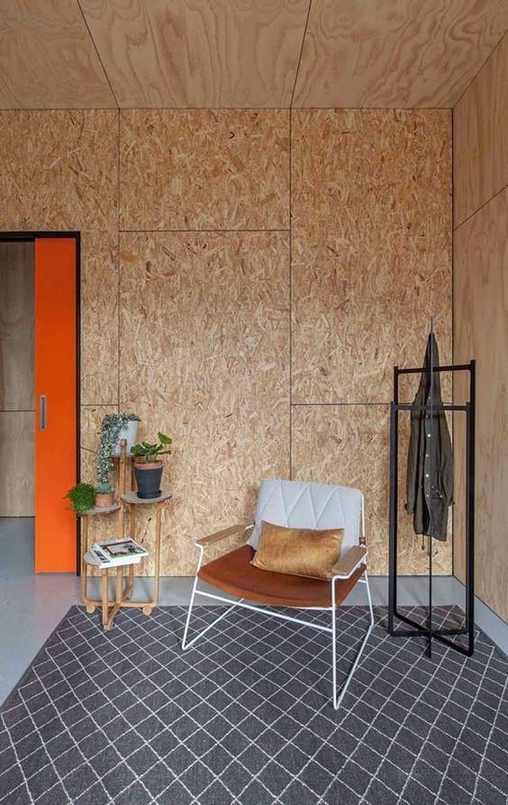 OSB-plaatidega kaetud sein.