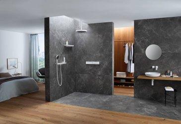 Pilt 5 - Uus duši arhetüüp - moodne mattvalge selge disainijoonega dušš, millel on tumeda grafiitpinnaga dušiplaat - on vannitoas tõeline pilgupüüdja.