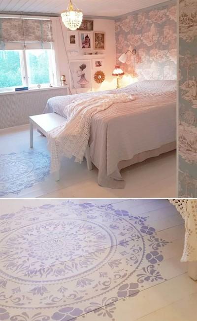 Õiemandala šabloon puitpõrandal magamistoas - 2