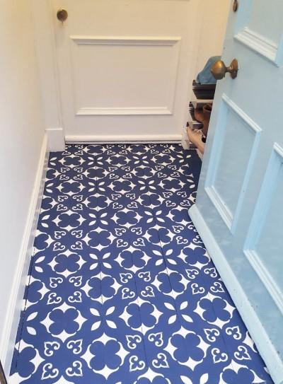 Vahemere šablooniga värvitud esiku puitpõrand - 4