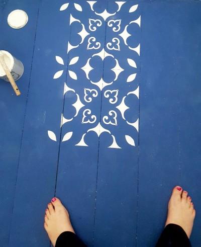 Vahemere šabloon esiku puitpõrandal - 3