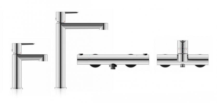 Pilt 2 - PURI seeria sisaldab kahte tüüpi valamusegisteid, termostaatilist dušisegistit ja seinale paigaldatavat segistit.