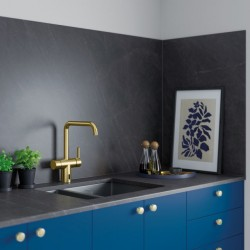 Pilt 7 - Damixa Touchless puutevaba kuldne segisti köögis.