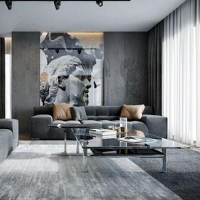Neutraalsed tekstiilkardinad modernses interjööris. Pilt: planete-deco.fr
