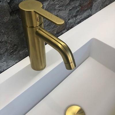 Pilt 16 - Vannitoakraan - harjatud messing kuld