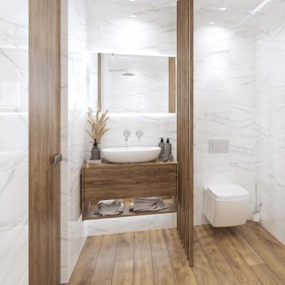 Puitparketi imitatsiooniga põrandaplaadid tualetis - 2