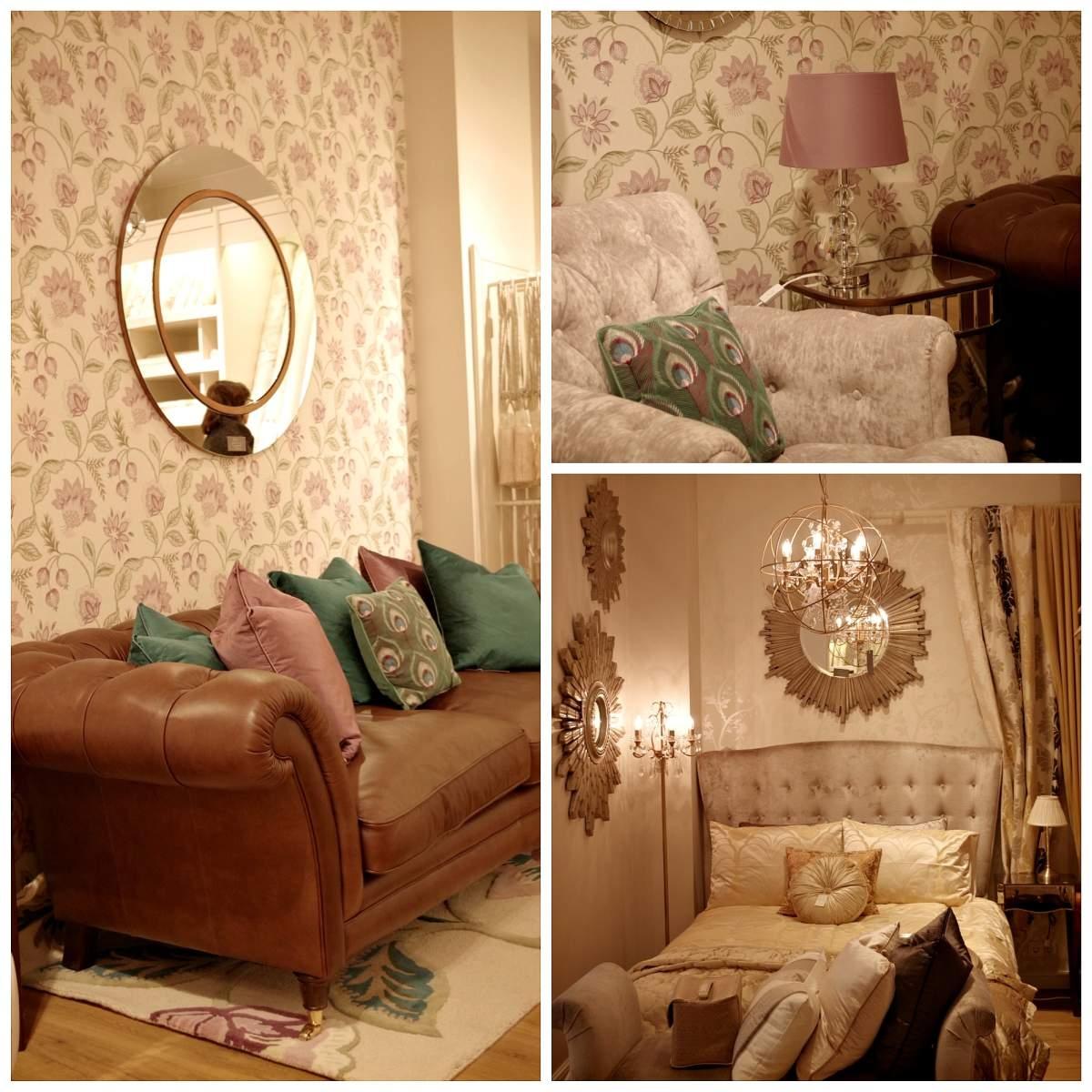 Magamistuba on kulunud kuldsetes toonides, aktsendiks nahast diivan sügavroheliste ja lillade patjadega.