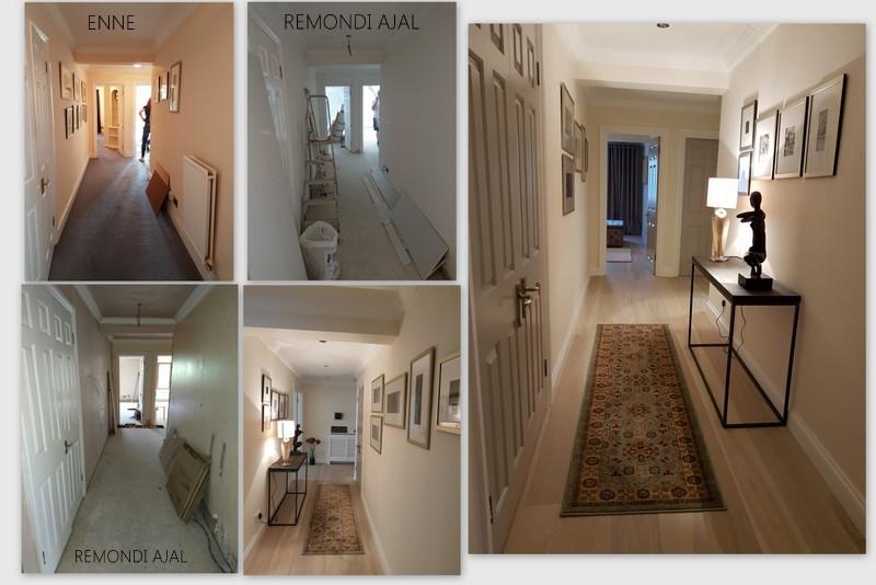 Koridor enne ja pärast remonti