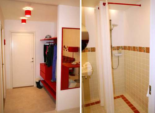 d1a1931e1af Vannitoas kohtame juba tuttavat heleda ja punase kombinatsiooni ning  lillemotiivi seinaplaatidel. Vastupidavast materjalist pestav Pagunette  dušikardin ...