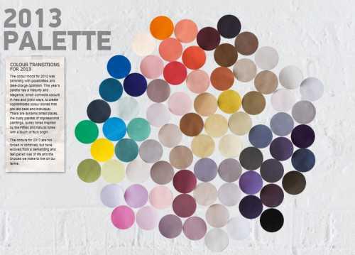 2013 aasta trendivärvide palett