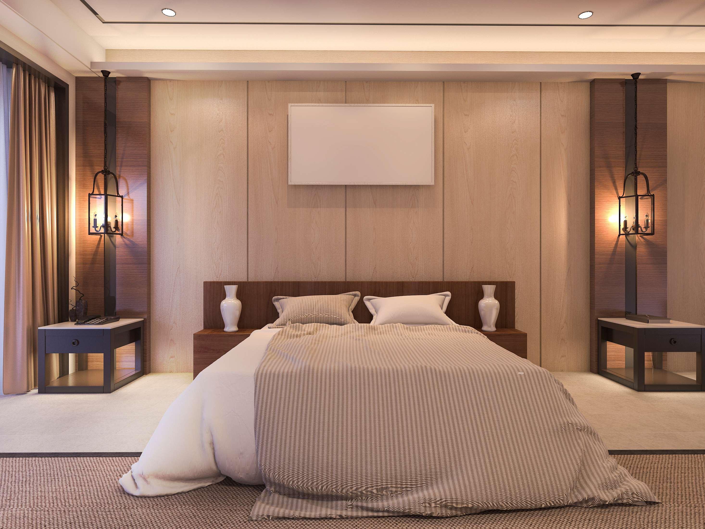 Laminaatparkett magamistoa seinas