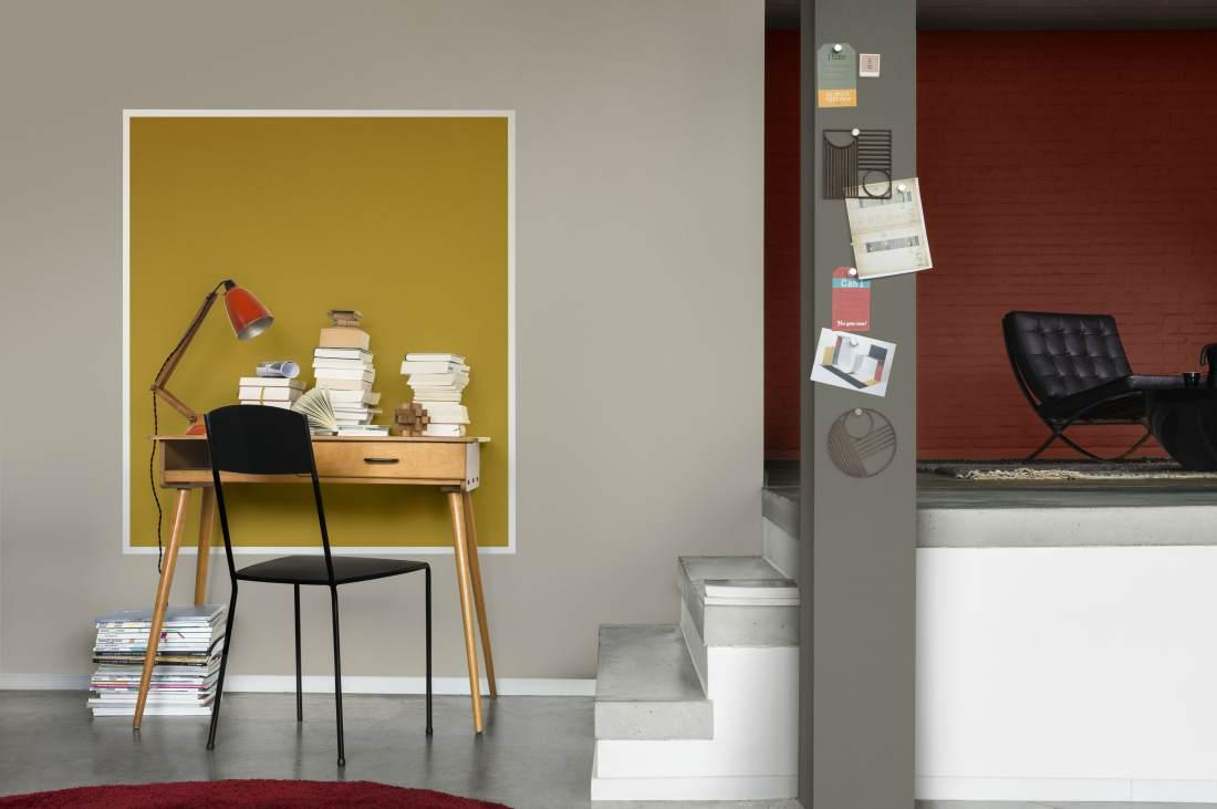 Täiesti mõttelise eraldustöö teeb ruudu või ovaal-ringikujuline sümbol seinal, et luua mõnus kontorinurk.