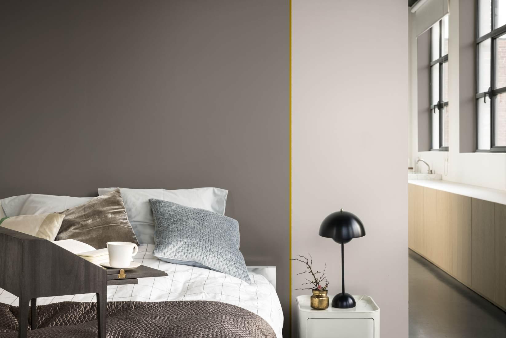 Ootamatult huvitav on magamistoas voodi ja kummuti vahel kuldse alatooniga vertikaalne joon, mis annab neutraalsele ruumile palju juurde.
