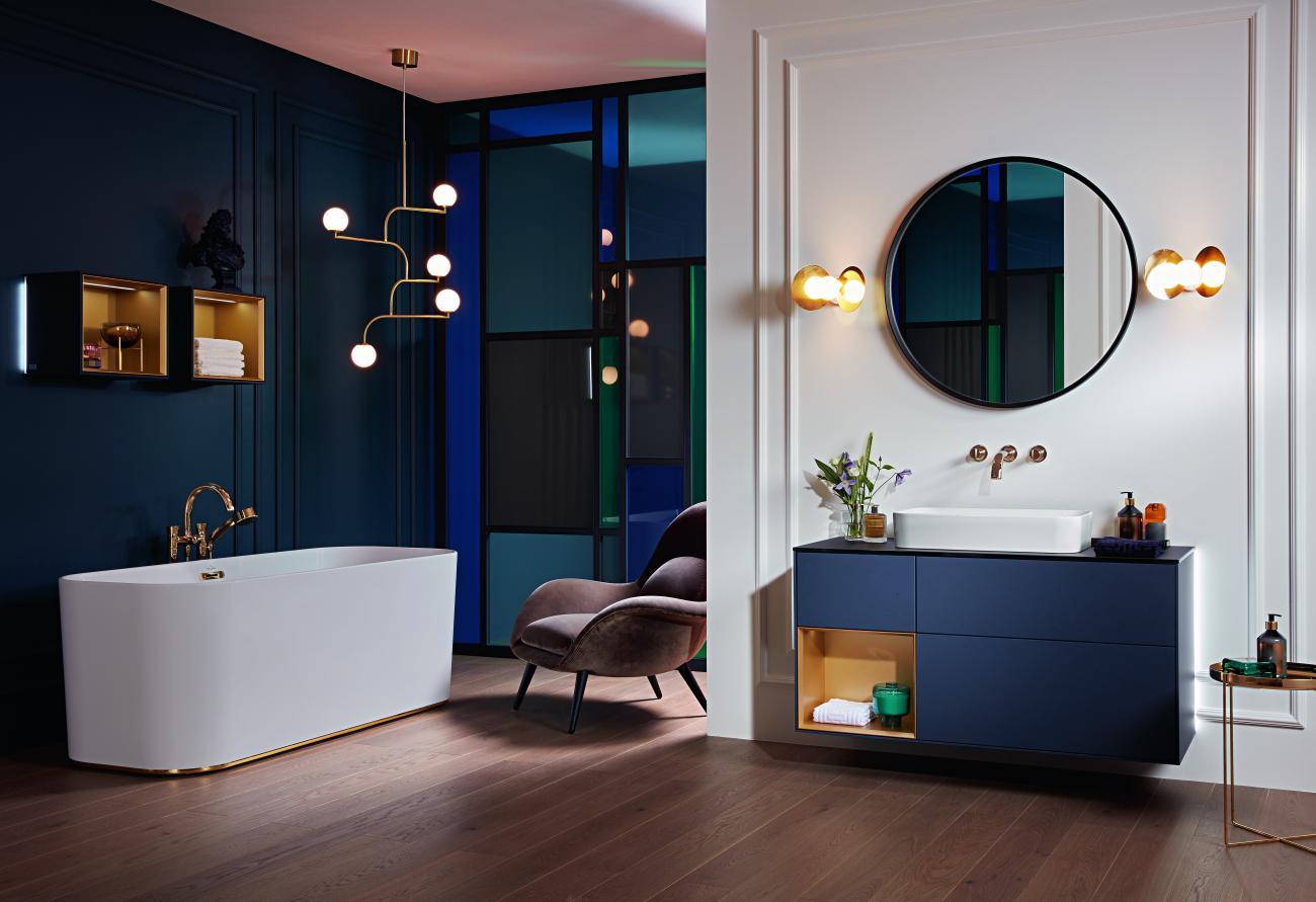 Vannitoa stiili saab muuta ka uut värvi mööbli ja sahtlitega. Foto - Villeroy & Boch