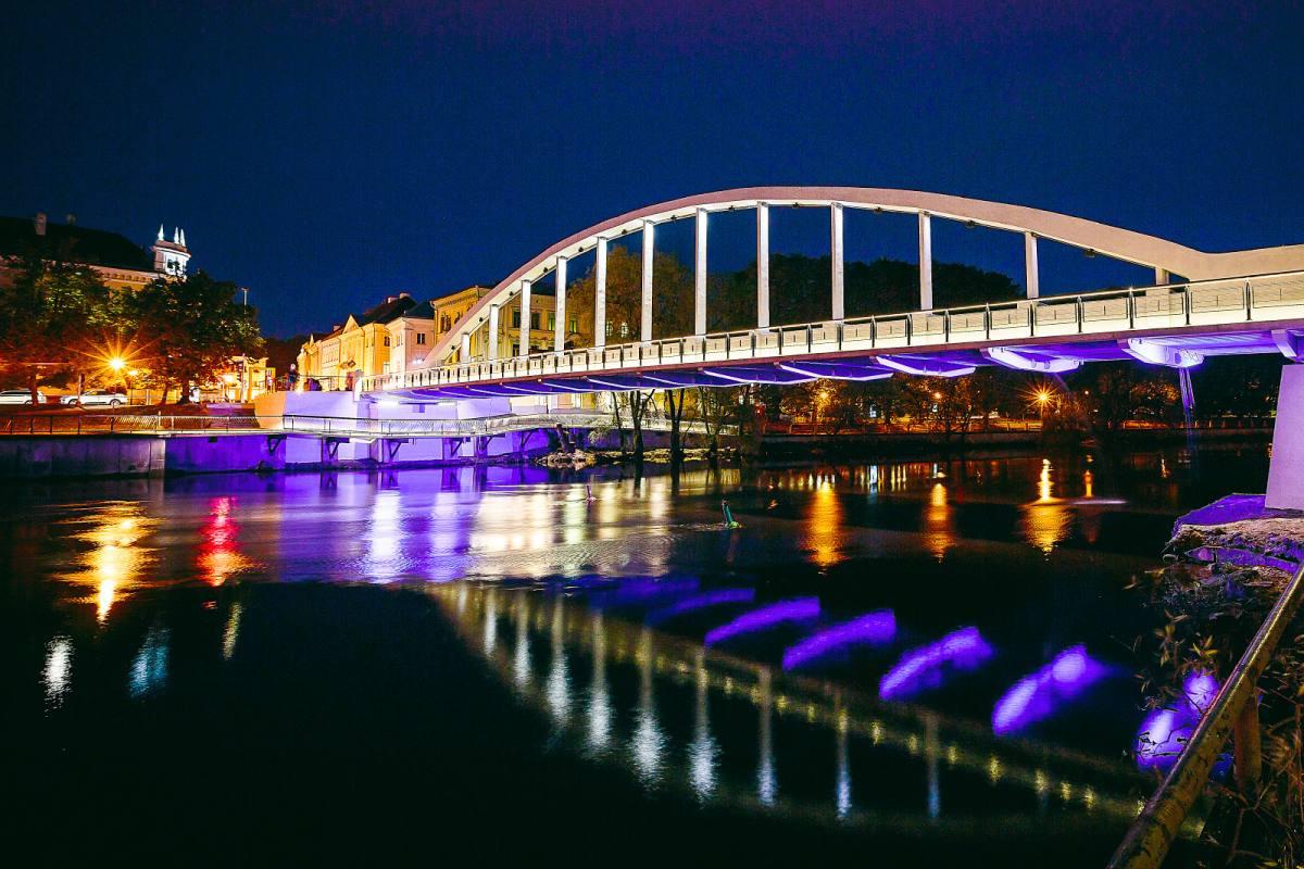 Rekonstrueeritud Tartu kaarsilla esimene heli- ja valguskujundus