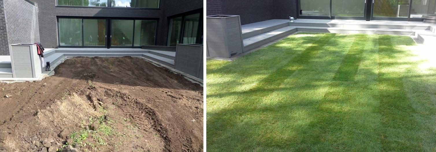 Foto: Muruplats maja sisehoovis (enne ja pärast).