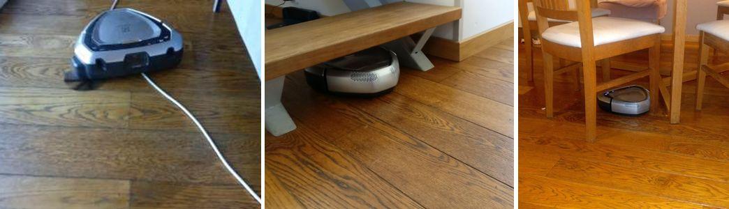 Robot liigub üle juhtme, trepiastme alla ja ümber toolijalgade..