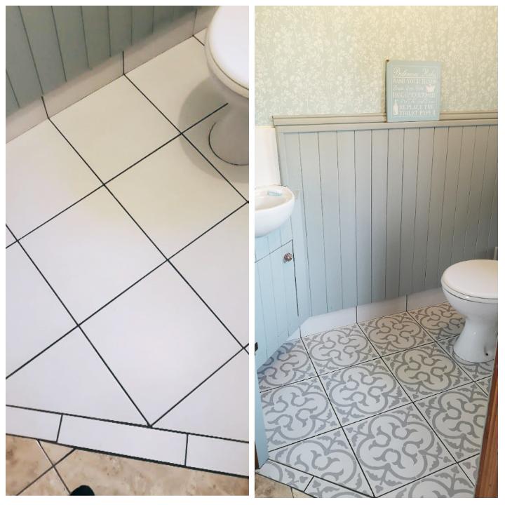 Keraamiliste plaatide värvimine. Kasutatud on Skandinaavia põrandašablooni.