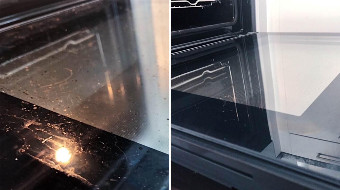 Ahjuuks enne ja pärast puhastust - Nanomaxi Eesti