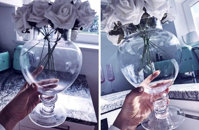 Klaasvaas enne ja pärast puhastamist ja klaasikaitsega katmist  - Nanomaxi Eesti