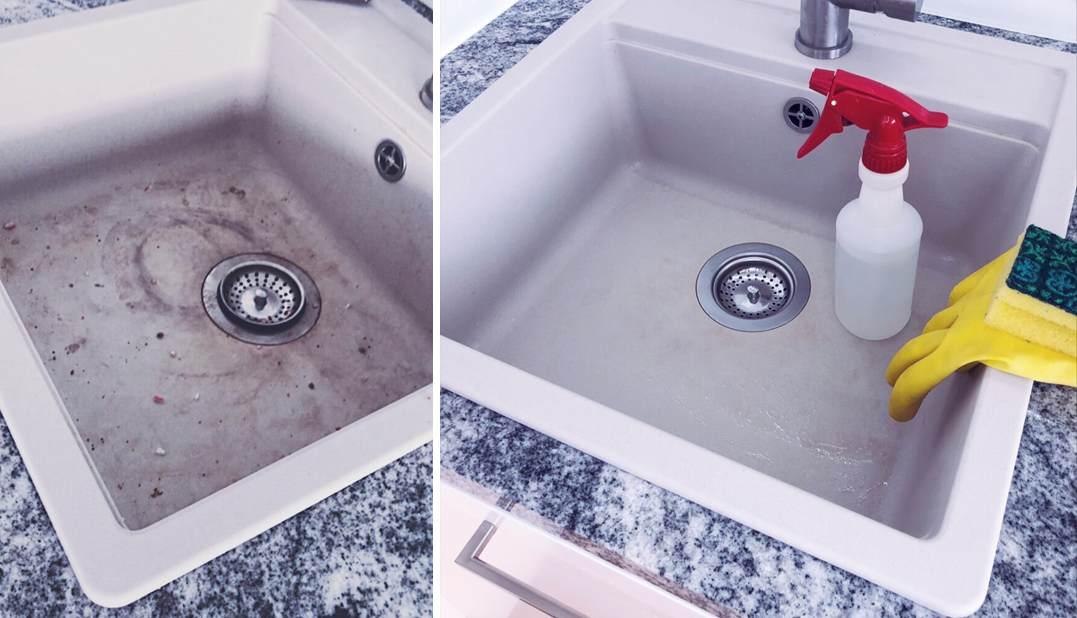 Kraanikauss enne ja pärast puhastust. Sobib kasutada nii katalkivi- kui rasvaeemaldit. Nanomaxi Eesti