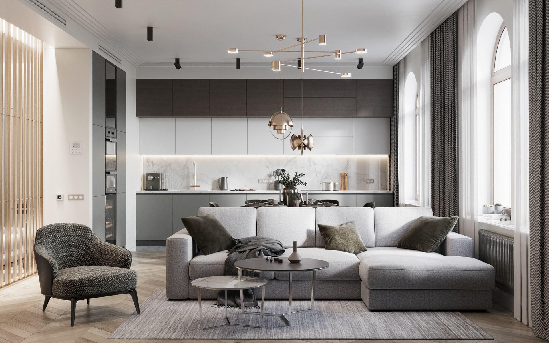 "Hästi planeeritud elutuba-köök. Foto: Pinterest, ЖК ""Русский Дом"". Design Room-Room interiors, Alexey Seldin"