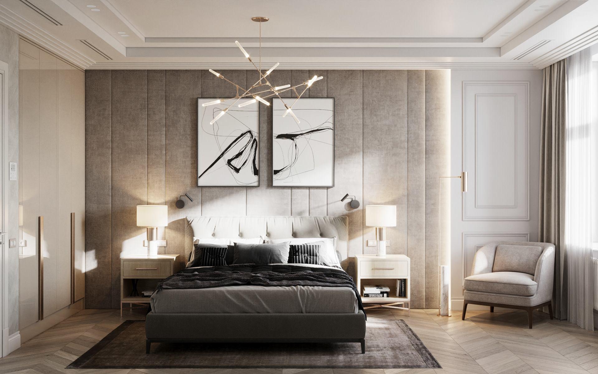 """Ideaalses suuruses vaip magamistoas. Foto: Pinterest, ЖК """"Русский Дом"""". Design Room-Room interiors, Alexey Seldin"""