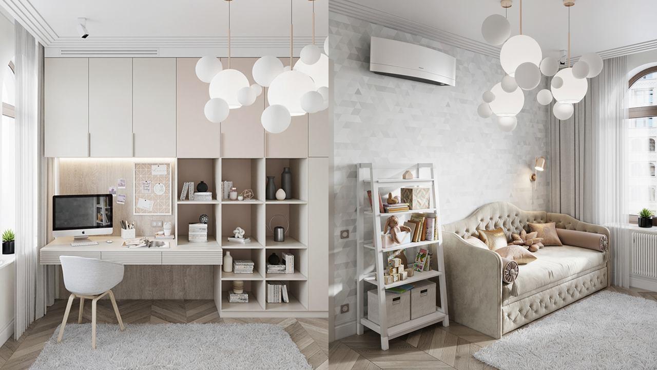 """Hästi planeeritud noorukituba-õppisnurk. Foto: Pinterest, ЖК """"Русский Дом"""". Design Room-Room interiors, Alexey Seldin"""