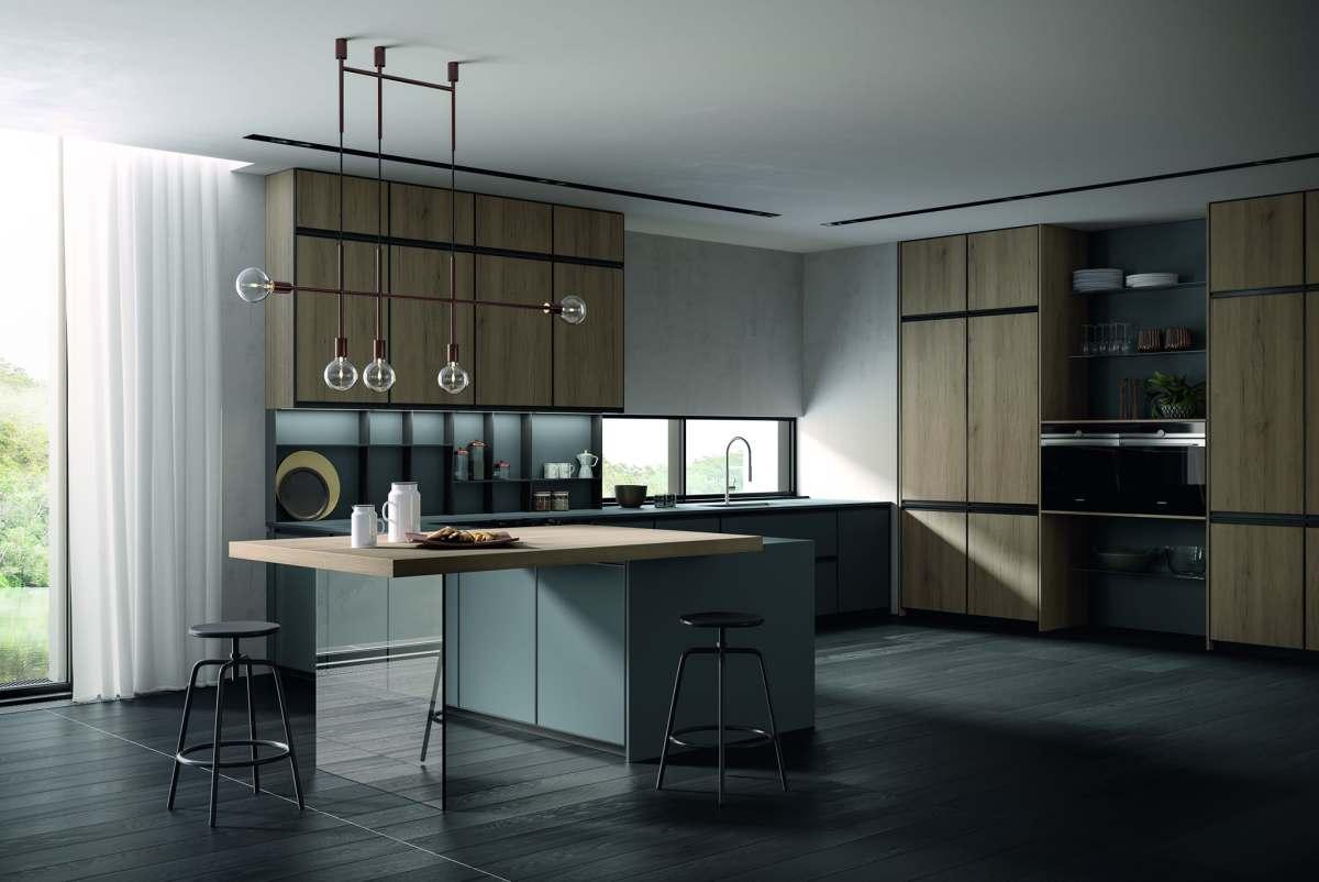Köök - avatud ja suletud riiuleid on omavahel kombineeritud. Arredo3 köögid.
